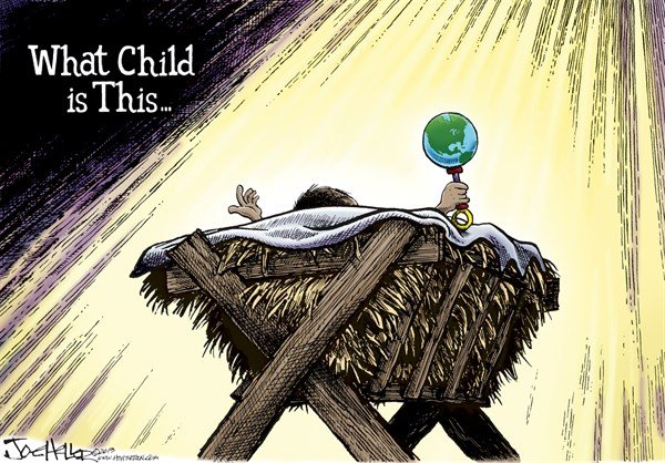 Christmas © Joe Heller,Green Bay Press-Gazette,day,xmas,what child is this,earth,rattle,Christmas, christmas 2013