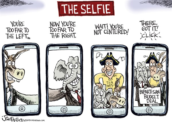 Joe Heller - Green Bay Press-Gazette - Budget Deal - English - Budget deal, selfie, ryan, GOP, Democrats, Tea Party