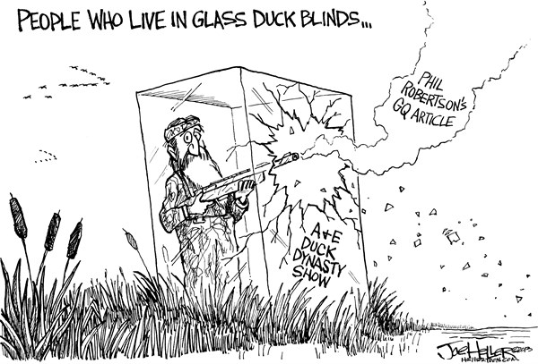 Joe Heller - Green Bay Press-Gazette - Duck Dynasty - English - Duck Dynasty, AE, Phil Robertson, blinds, TV, hunting