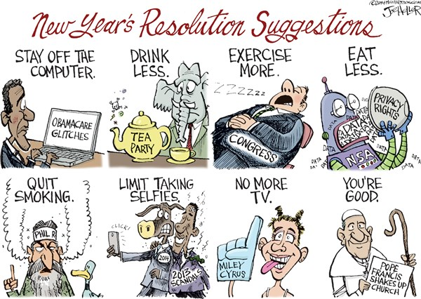 Resolutions © Joe Heller,Green Bay Press-Gazette,resolutions,new years,new year 2014