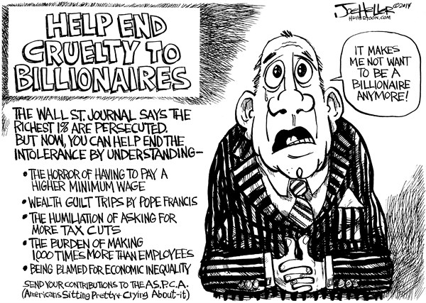 Joe Heller - Green Bay Press-Gazette - Billionaires - English - Billionaires, Help, ASPCA, economic inequatily, Tom Perkins, wall street journal, millionaire