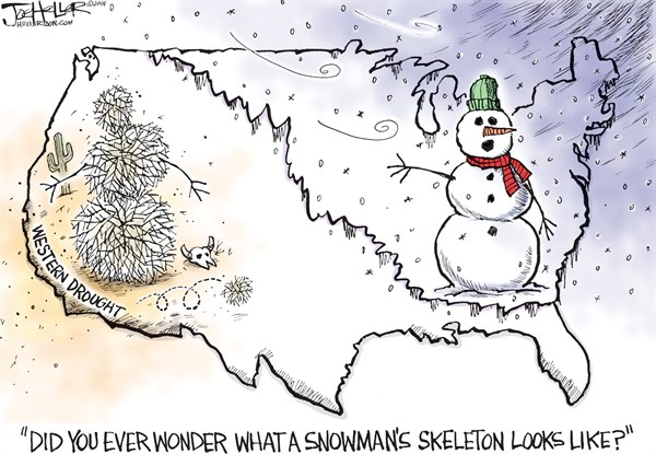 Snowmen © Joe Heller,Green Bay Press-Gazette,snowmen, man, blizzard, western drought, california, skeleton