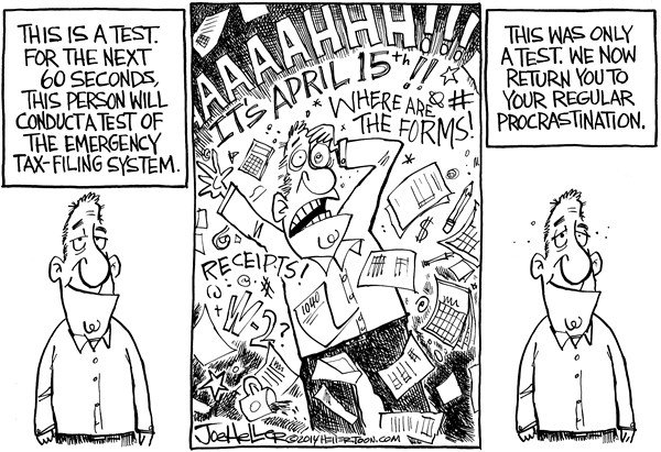 Joe Heller - Green Bay Press-Gazette - Tax Time - English - Tax time, 1040, emergency, broadcast, system, April 15, test, taxes