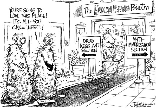 Joe Heller - Green Bay Press-Gazette - Germs - English - germs, drug resistant antibiotics, anti immunization, human being bistro, restaurant, all you can infect, virus