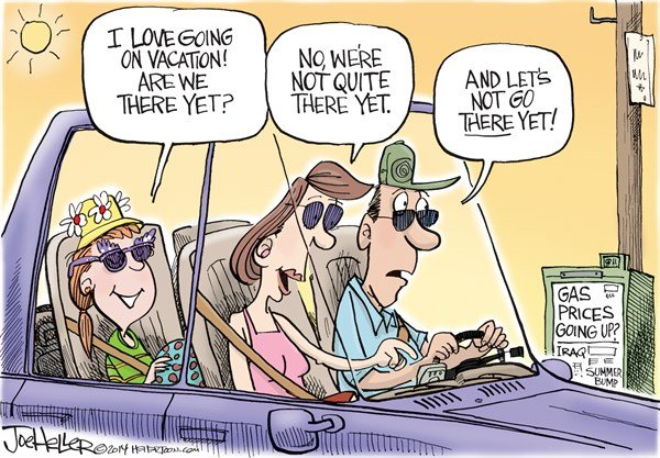 Vacation © Joe Heller,Green Bay Press-Gazette,vacation, gas, prices, petri, there yet
