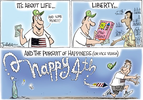 Fourth of July © Joe Heller,Green Bay Press-Gazette,Fourth of July, July 4th, independence day, fireworks, life, liberty and the pursuit of happiness