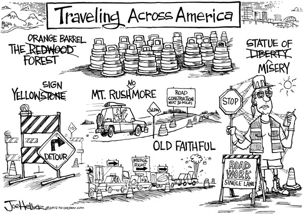Joe Heller - Green Bay Press-Gazette - Summer Travel - English - Summer Travel, road construction, vacation,