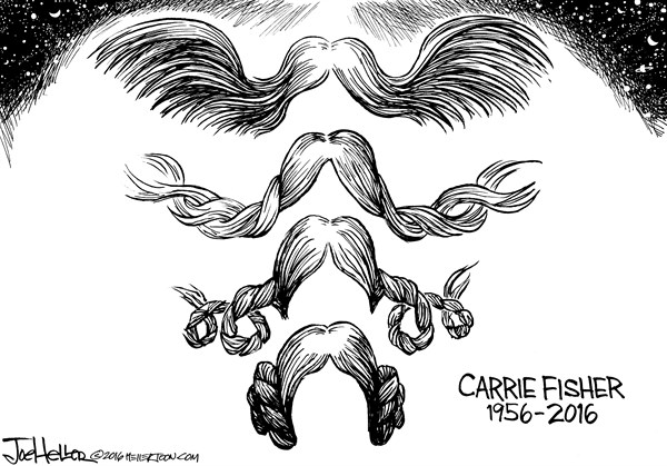 Joe Heller - Green Bay Press-Gazette - Carrie Fisher - English - Carrie Fisher, Star Wars, the force be with you, hairdo, bun, wings, space, trilogy, Princess leia