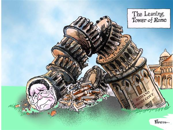 Paresh Nath - The National Herald, India - Leaning tower of Rome - English - Italy, Romano ,Prodi, govt ,collapse,leaning, tower ,Rome,Europe ,politics