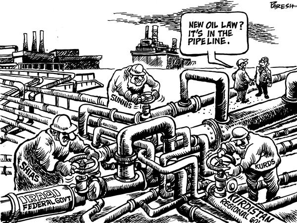 Paresh Nath - The National Herald, India - New Iraqi oil law - English - Iraqi oil law, draft, share for revenue, Shias, Sunnis, Kurds, oil revenue, oil pipes, regulation