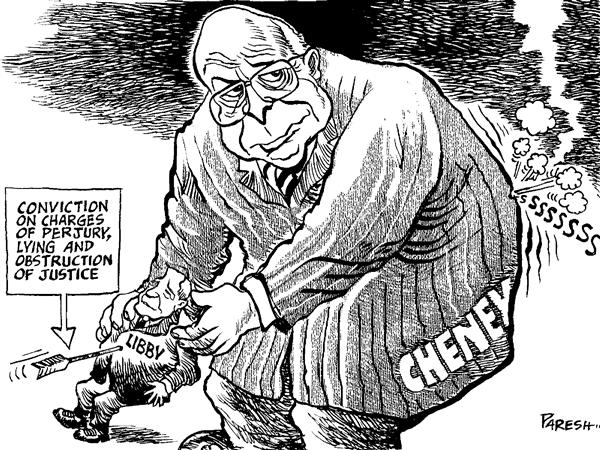 Paresh Nath - The National Herald, India - Libby deflates Cheney - English - Scooter Libby, Dick Cheney, conviction arrow, trial, perjury, justice, deflated,intelligence