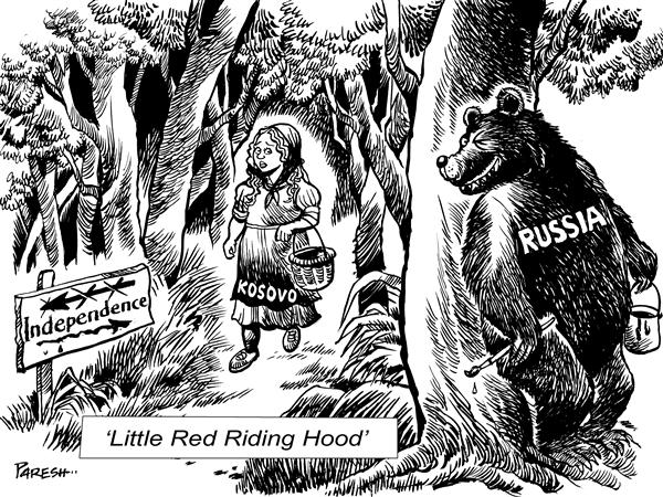 Paresh Nath - The National Herald, India - Kosovo :  Red Riding Hood - English - Kosovo, independence,Serbia, Europe, USA, Russia, Red Riding Hood, UN