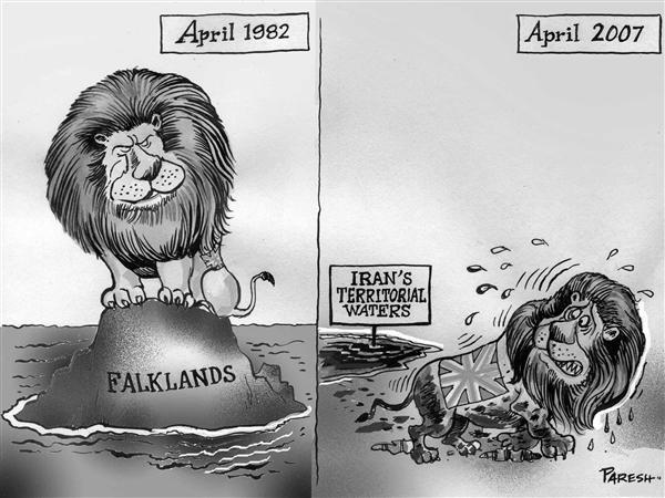 Paresh Nath - The National Herald, India - UK then and now  b&w - English - UK Falklands invasion 1982  Iran territorial waters 2007 Lion mud
