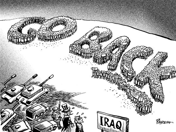 Paresh Nath - The National Herald, India - Signals in Iraq - English - Iraq civil war Iraqis protest Bush Uncle sam Baghdad