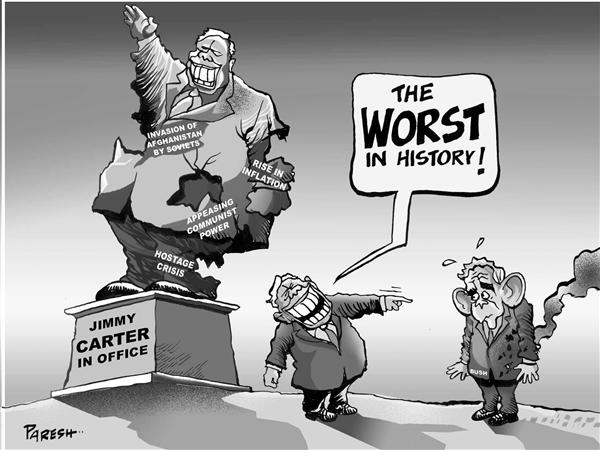 Paresh Nath - The National Herald, India - Carter comments B &W - English - Jimmy Carter,George Bush,Soviet invasion,Iraq war,communist rule,inflation,hostage crisis