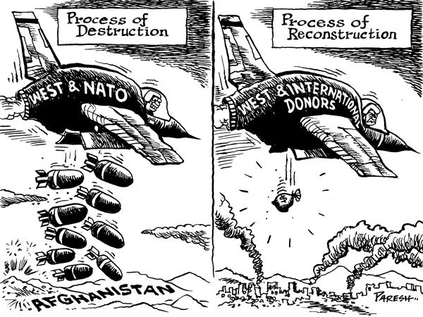 Paresh Nath - The National Herald, India - Aiding Afghanistan - English - Afghanistan,NATO,USA,Western forces,international donors,bombs,aid,taliban,war