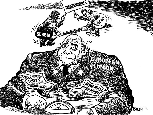 Paresh Nath - The National Herald, India - Kosovo headache for EU - English - Serbia,Kosovo,independence,see-saw,Euroean Union,regional unity,separatists' movement,balance
