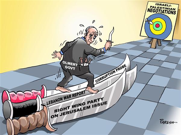 Paresh Nath - The National Herald, India - Knife-edge negotiations - English - Israel,Palestine,peace negotiations,knife-edge,jerusalem issue,right wing,Lebanon war report,corruption probe,Olmert,bulls eye