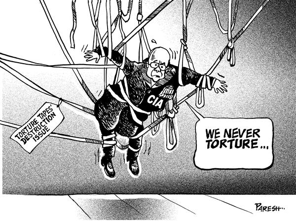 Paresh Nath - The National Herald, India - CIA caught in torture tapes - English - CIA,torture,tapes,destruction,human rights,terror suspects,legal issue