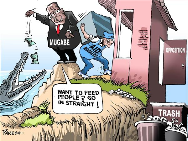 Paresh Nath - The National Herald, India - Aid workers in Zimbabwe - English - Aid agencies,Zimbabwe,Robert Mugabe,inflation,people,food,opposition,trash,crocodile