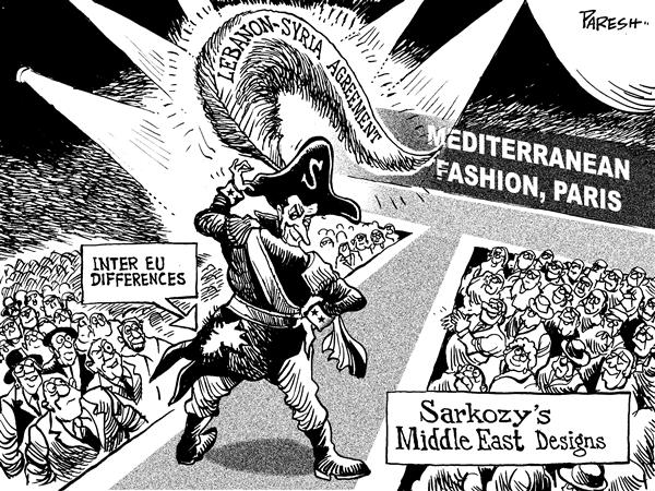 Paresh Nath - The National Herald, India - Showy Sarkozy - English - Sarkozy,France,Mediterranean,Syria,Lebanon,agreement,feather,cap,fashion