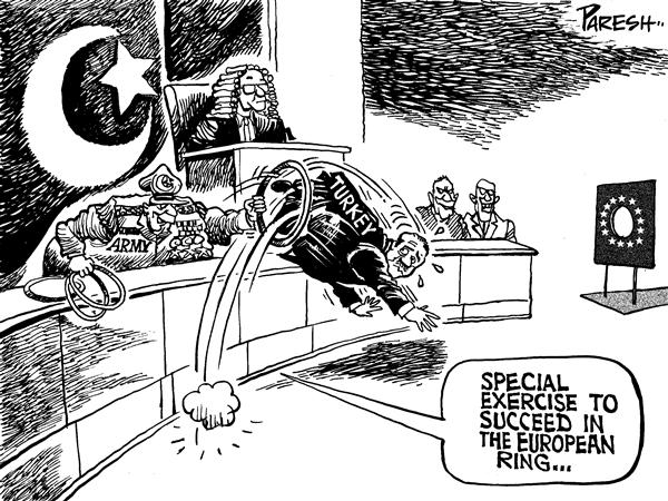 Paresh Nath - The National Herald, India - Turkey's exercise - English - Turkey,constitutional court,army,secularism,AK party,Erdogan,EU ring, jump through hoops