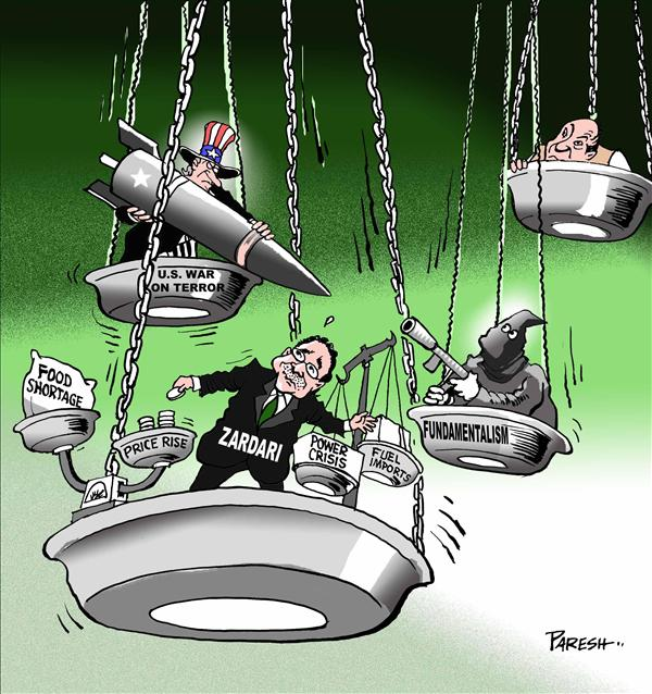 Paresh Nath - The Khaleej Times, UAE - Balancing in Pakistan - English - Pakistan,Uncle Sam,President Zardari,fundamentalism,war on terror,price rise,food shortage,power crisis,fuel imports,balance