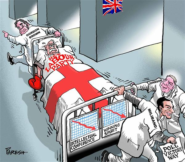 Paresh Nath - The Khaleej Times, UAE - British Labour party COLOR - English - Britain,Gordon Brown,David Miliband,Johnson,Labour party,dying,poll failure,rebellion,doctors