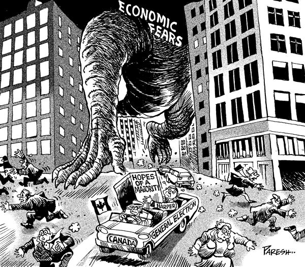 Paresh Nath - The Khaleej Times, UAE - Fears in Canada poll - English - Canada,majority,hopes,economic fears,dinosaur,Harper,Election