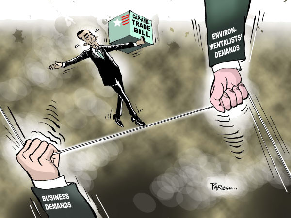 Obama's Cap-and-trade © Paresh Nath,The Khaleej Times, UAE,Taxes, Obama,USA,rope,balancing act,environmentalists demands,business,cap and trade bill, tight rope