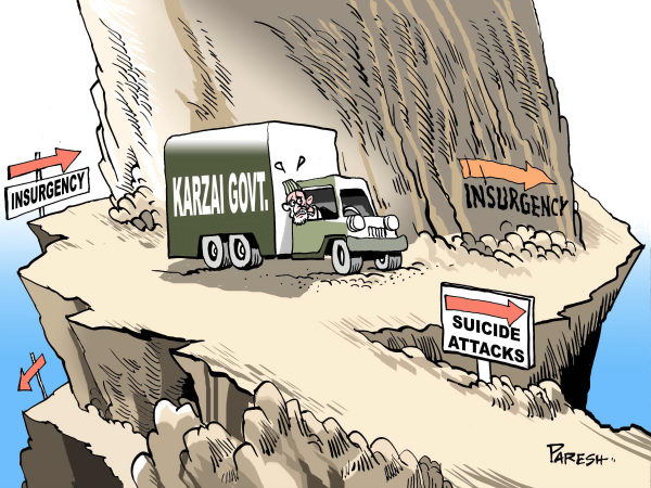 Way for Karzai govt COLOR © Paresh Nath,The Khaleej Times, UAE,way,hill,Afghanistan,insurgency,suicide attacks,threat,truck,Karzai