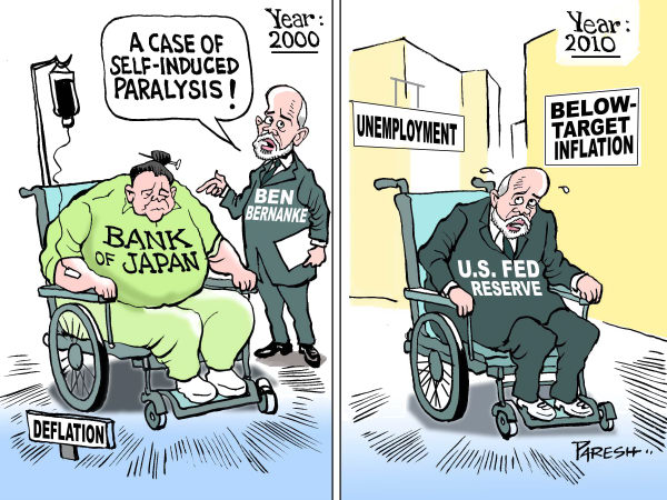 Paresh Nath - The Khaleej Times, UAE - Federal Reserve - English - Ben Bernanke, year 2000,Bank of Japan,deflation USA, Fed Reserve, paralysis, self-induced, economy, below-target, inflation,unemployment