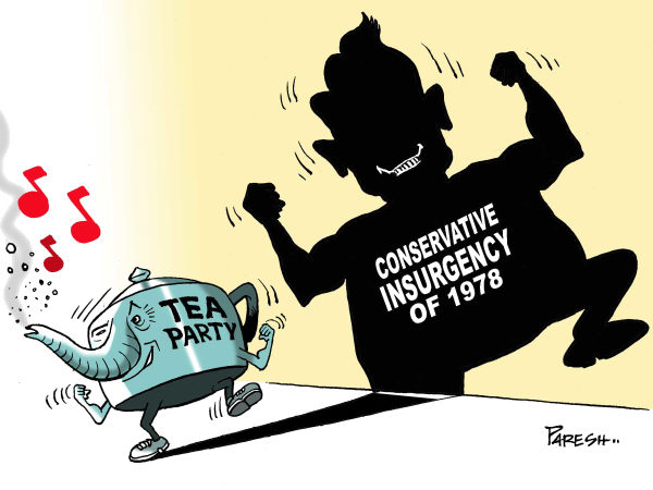 Tea party victory © Paresh Nath,The Khaleej Times, UAE,GOP, Republican party, Tea party, movement, conservative insurgency, 1978, mid-term polls,USA, Reagan, shadow, danger