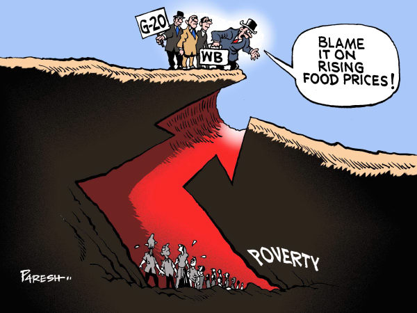 Food prices and poverty © Paresh Nath,The Khaleej Times, UAE,Food prices,up,higher levels, poverty, pit,graph,people,G-20, Paris, World Bank,blame