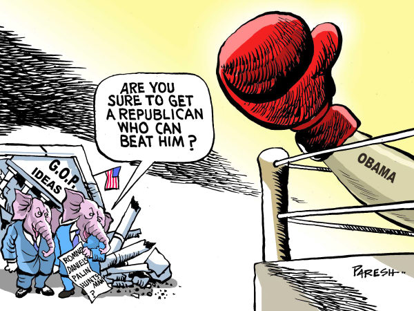 Search for nominee COLOR © Paresh Nath,The Khaleej Times, UAE,Republican party, GOP, ideas, house crumbles,contestant, beat, Obama,2012 election, USA,nominee