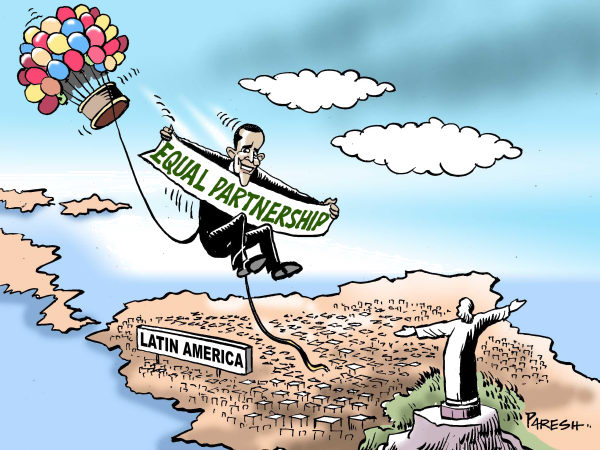 Obama in Latin America COLOR © Paresh Nath,The Khaleej Times, UAE,Obama, Latin America,tour,Brazil, Chile, Columbia, ElSalvador,business,trade,equal partnership,rgetoric,hot gas balloon,Christ, statue,Rio