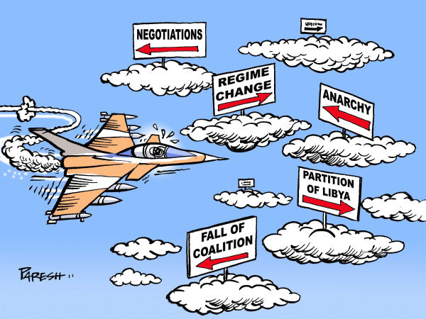 Military action © Paresh Nath,The Khaleej Times, UAE,Libya, coalition, NATO, military action,objectives,negotiation, Gaddafi,regime change,fall,anarchy,partition