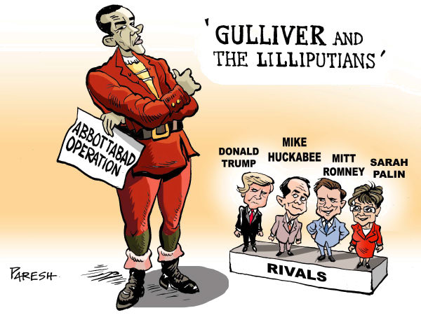 Obama and rivals COLOR © Paresh Nath,The Khaleej Times, UAE,Obama,Hero, Gulliver,Abbottabad operation,killing Osama,rivals,2012 poll,Donald Trump,Mitt Romney,Mike Huckabee, Sarah Palin,republicans,Lilliputians