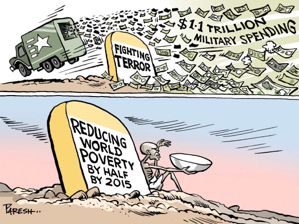 The Milestones COLOR © Paresh Nath,The Khaleej Times, UAE,milestones, war on terror, trillion dollars, military spending,reducing, poverty, half by 2015,poor,hungry,deserted