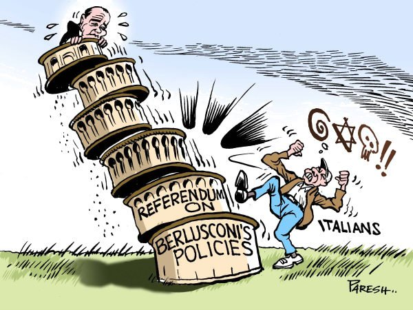 Saying NO to Berlusconi © Paresh Nath,The Khaleej Times, UAE,Berlusconi Silvio, Italy,corruption,scandal,referendum,vote,policies,people,kick,rejection,leanig tower,falling,pisa
