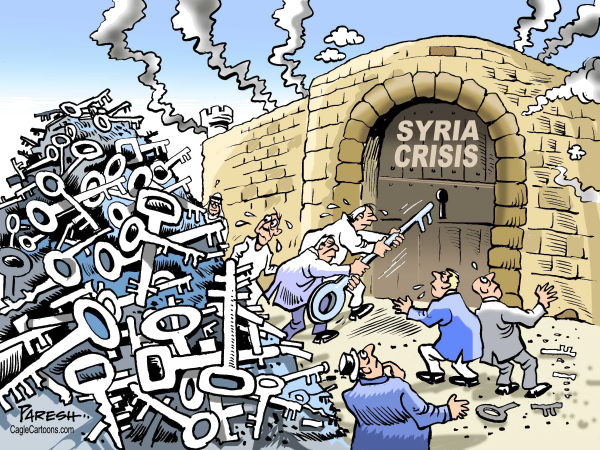 Paresh Nath - The Khaleej Times, UAE - Syria crisis COLOR - English - Syria, crisis, killings, genocide,lock, solution, keys,failure, Assad, Middle East