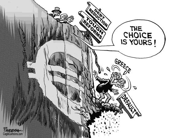 Paresh Nath - The Khaleej Times, UAE - Greek choice - English - Greece,sovereign debt, eurozone, default hole,austerity,debt reduction, tough reforms,cliff,choice