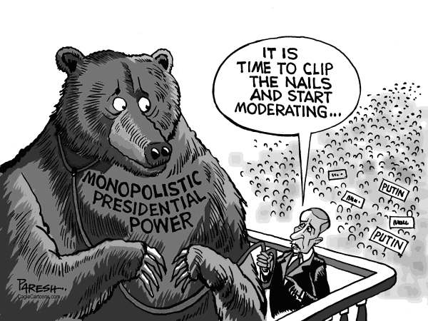 Paresh Nath - The Khaleej Times, UAE - Change in Russia - English - Russia, bear, monopolistic power, presidency,clip nails, moderation,soft policy, Putin, anti-Putin protests