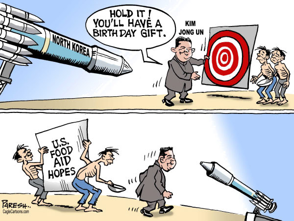 Paresh Nath - The Khaleej Times, UAE - North Korean Gift COLOR - English - North Korea, missile, nuclear, satellite, Kim Jong Un, poverty, US food aid, Birth day gift