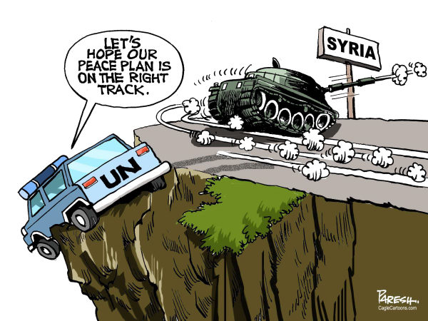 Paresh Nath - The Khaleej Times, UAE - Syria violence COLOR - English - Syria, Assad, violence,pro-Assad forces, United Nations, Kofi Annan plan, peace in Syria