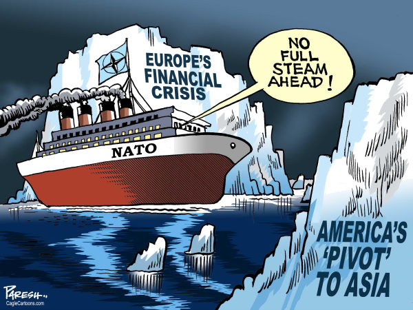 Paresh Nath - The Khaleej Times, UAE - NATOs troubles COLOR - English - NATO, European security, Titanic ship, icebergs, Euro Financial crisis, America pivot to Asia, Asia pacific policy, warnings