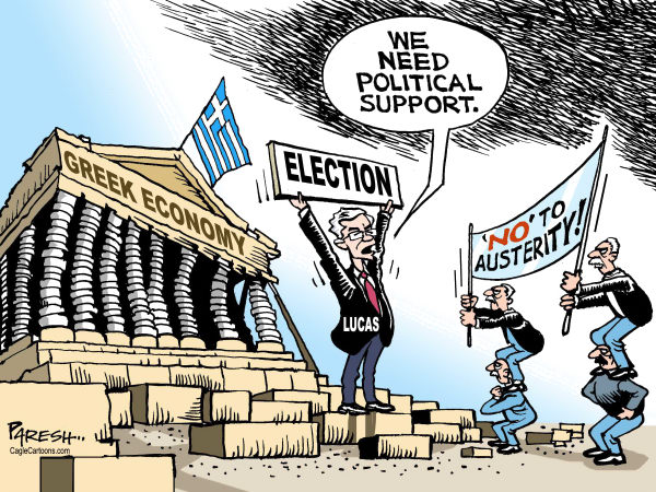 Paresh Nath - The Khaleej Times, UAE - Greek Election COLOR - English - Greece, Greek Economy, financial support, political support, Election, anti-austerity parties,Lucas Papademos, eurozone crisis