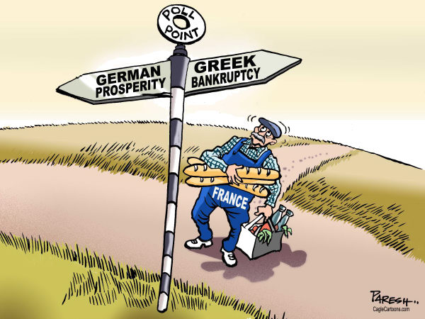 Paresh Nath - The Khaleej Times, UAE - France which way COLOR - English - France, Presidential poll, Hollande, Sarkozy, French voter, German prosperity, Greek bankruptcy, eurozone, debt crisis, crossroads