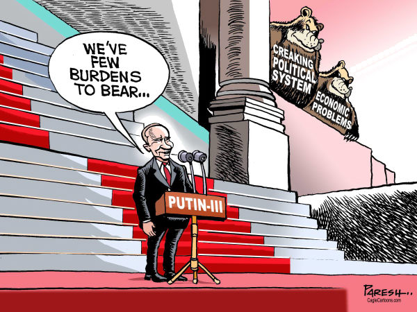 Paresh Nath - The Khaleej Times, UAE - Putin-3 - English - Vladymir Putin, Russia, president, political system, kremlin, economic problems, bear, swearing in