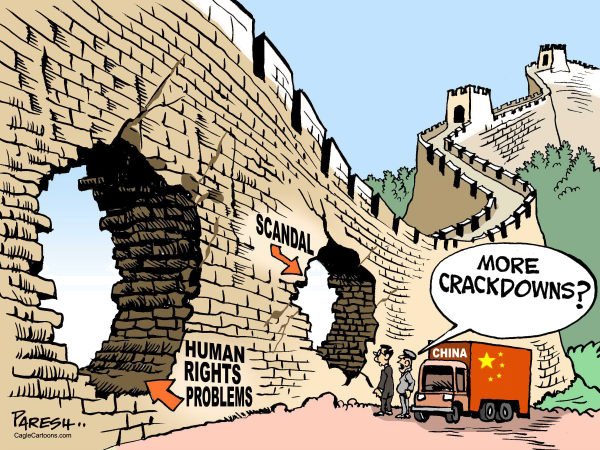 Paresh Nath - The Khaleej Times, UAE - China Wall holes COLOR - English - China, wall of China, holes, cracks, human rights problems, scandal, corruption, crackdowns, repression